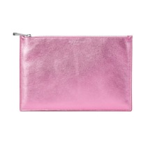 Large Essential Flat Pouch in Metallic Pink Nappa. Evening & Clutches from Aspinal of London