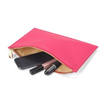 Large Essential Flat Pouch in Smooth Neon Pink. Evening & Clutches from Aspinal of London