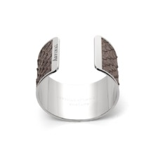 Silver Cleopatra Cuff Bracelet in Grey Python. Cuff Bracelets from Aspinal of London