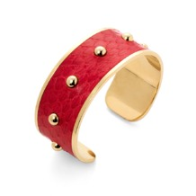 Athena Cuff Bracelet in Berry Snakeskin. Cuff Bracelets from Aspinal of London