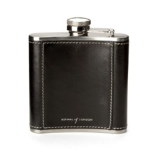 Classic 5oz Leather Hip Flask in Smooth Black. Classic 5oz Leather Hip Flasks from Aspinal of London