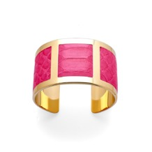 Roma Cuff Bracelet in Neon Pink Python. Cuff Bracelets from Aspinal of London