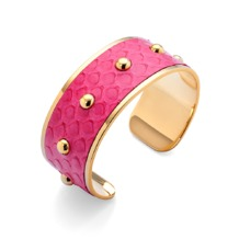 Athena Cuff Bracelet in Neon Pink Python. Cuff Bracelets from Aspinal of London