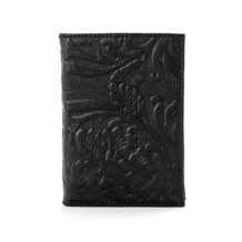 Embossed Flower Refillable Pocket Notebook in Black. Sale from Aspinal of London