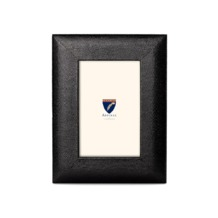 6 x 4 Leather Photo Frame in Black Lizard. Leather Photo Frames from Aspinal of London