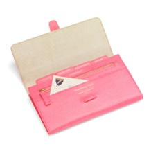 Classic Travel Wallet in Pink Lizard & Cream Suede. Outlet from Aspinal of London