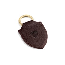 Shield Key Ring in Chocolate Brown Saffiano. Outlet from Aspinal of London