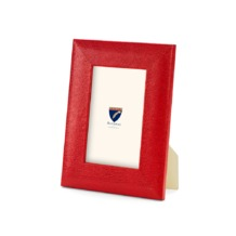 6 x 4 Leather Photo Frame in Berry Lizard. Leather Photo Frames from Aspinal of London