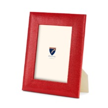 7 x 5 Leather Photo Frame in Berry Lizard. Leather Photo Frames from Aspinal of London
