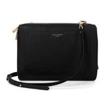 Marylebone iPad Air Case with Crossbody Strap in Black Pebble. Outlet from Aspinal of London