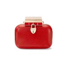 Padlock Clutch in Berry Lizard. Sale from Aspinal of London
