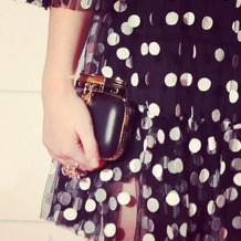 Padlock Clutch in Smooth Black. Evening & Clutches from Aspinal of London