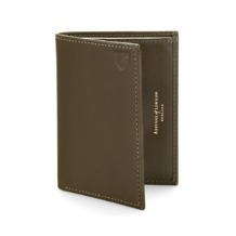 Double Fold Credit Card Case with Notes Pocket in Smooth Moss Green. Business & Credit Card Holders from Aspinal of London