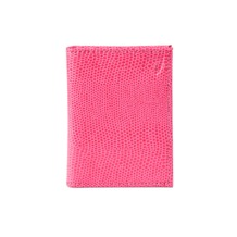 ID & Travel Card Case in Pink Lizard & Cream Suede. Business & Credit Card Holders from Aspinal of London