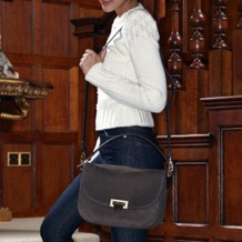 Letterbox Slouchy Saddle Bag in Berry Pebble. Handbags & Clutches from Aspinal of London