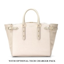 Large Marylebone Tech Tote in Ivory Saffiano & Mouse Python. Ladies Business Bags from Aspinal of London