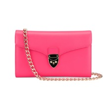 Shield Lock Manhattan Clutch in Smooth Neon Pink. Handbags & Clutches from Aspinal of London