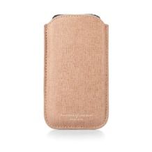 Leather iPhone 5 Case in Deer Saffiano & Stone Suede. Outlet from Aspinal of London