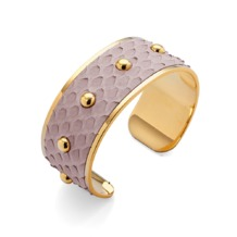 Athena Cuff Bracelet in Nude Nubuck Python. Cuff Bracelets from Aspinal of London