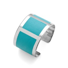 Roma Cuff Bracelet in Aqua Nappa & Aqua Nubuck. Cuff Bracelets from Aspinal of London