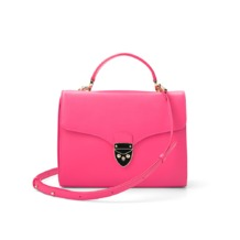 Mayfair Bag in Smooth Neon Pink. Handbags & Clutches from Aspinal of London