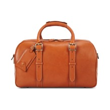 Small Harrison Weekender Travel Bag in Smooth Tan. Mens Travel Bags from Aspinal of London