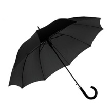 Gents Automatic Umbrella in Black with Matt Hardwood Handle. Umbrellas from Aspinal of London