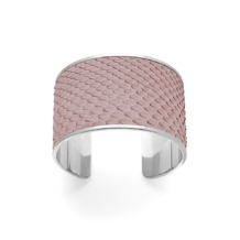 Silver Cleopatra Cuff Bracelet in Nude Nubuck Python. Cuff Bracelets from Aspinal of London