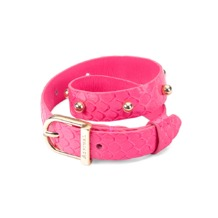 Marylebone Buckle Bracelet in Neon Pink Python. Cuff Bracelets from Aspinal of London