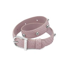 Silver Marylebone Buckle Bracelet in Nude Nubuck Python. Cuff Bracelets from Aspinal of London