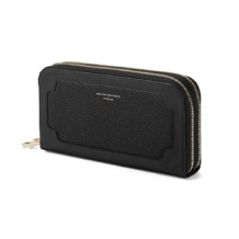 Marylebone Double Zip Purse in Black Pebble. Outlet from Aspinal of London