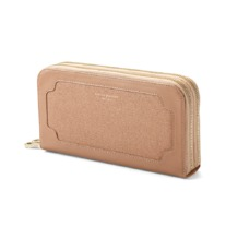 Marylebone Double Zip Purse in Deer Saffiano. Outlet from Aspinal of London