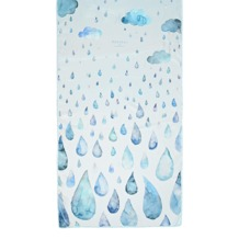 Long Raindrops & Clouds Cashmere Blend Scarf in Aqua. Ladies Silk Scarves from Aspinal of London