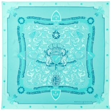 Aspinal Signature Shield Silk Scarf in Aqua. Ladies Silk Scarves from Aspinal of London