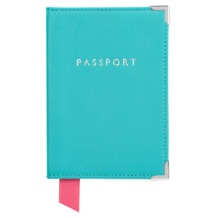 Plain Passport Cover in Smooth Aqua. Leather Passport Covers from Aspinal of London