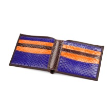 Exotic Billfold Wallet in Smooth Chocolate Brown & Multi-Coloured Snake. Leather Billfold Wallets from Aspinal of London