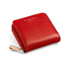Mini Continental Zipped Coin Purse in Berry Lizard