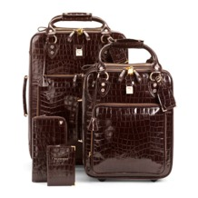 Candy Case Collection in Amazon Brown Croc. Mens Travel Bags from Aspinal of London