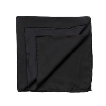 Plain Pocket Square Silk Handkerchief in Black. Outlet from Aspinal of London
