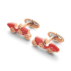 18ct Rose Gold Vermeil & Enamel Classic Car Cufflinks in Red