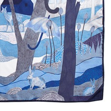 Enchanted Forest Silk Scarf in Navy. Ladies Silk Scarves from Aspinal of London