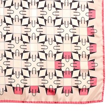 Marylebone Geometric Silk Scarf in Neon Pink. Ladies Silk Scarves from Aspinal of London