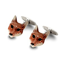 Sterling Silver & Enamel Fox Head Cufflinks