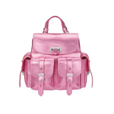 Mini Letterbox Rucksack in Pink Metallic Nappa. Handbags & Clutches from Aspinal of London