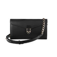 Mini Manhattan Clutch in Smooth Black. Evening & Clutches from Aspinal of London