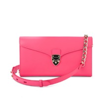 Mini Manhattan Clutch in Smooth Neon Pink. Handbags & Clutches from Aspinal of London