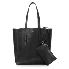 Essential Tote in Black Pebble & Smooth Black. Ladies Business Bags from Aspinal of London