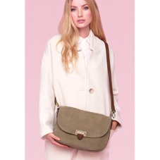 Letterbox Slouchy Saddle Bag in Fog Nubuck & Smooth Tan. Handbags & Clutches from Aspinal of London