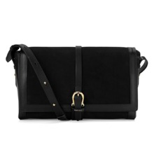 Shoulder Buckle Bag in Black Nubuck. Handbags & Clutches from Aspinal of London