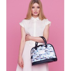 Hepburn Bag in Smooth Navy Raindrop Nappa. Handbags & Clutches from Aspinal of London